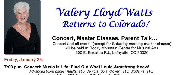 Valery Lloyd-Watts Returns to Colorado!